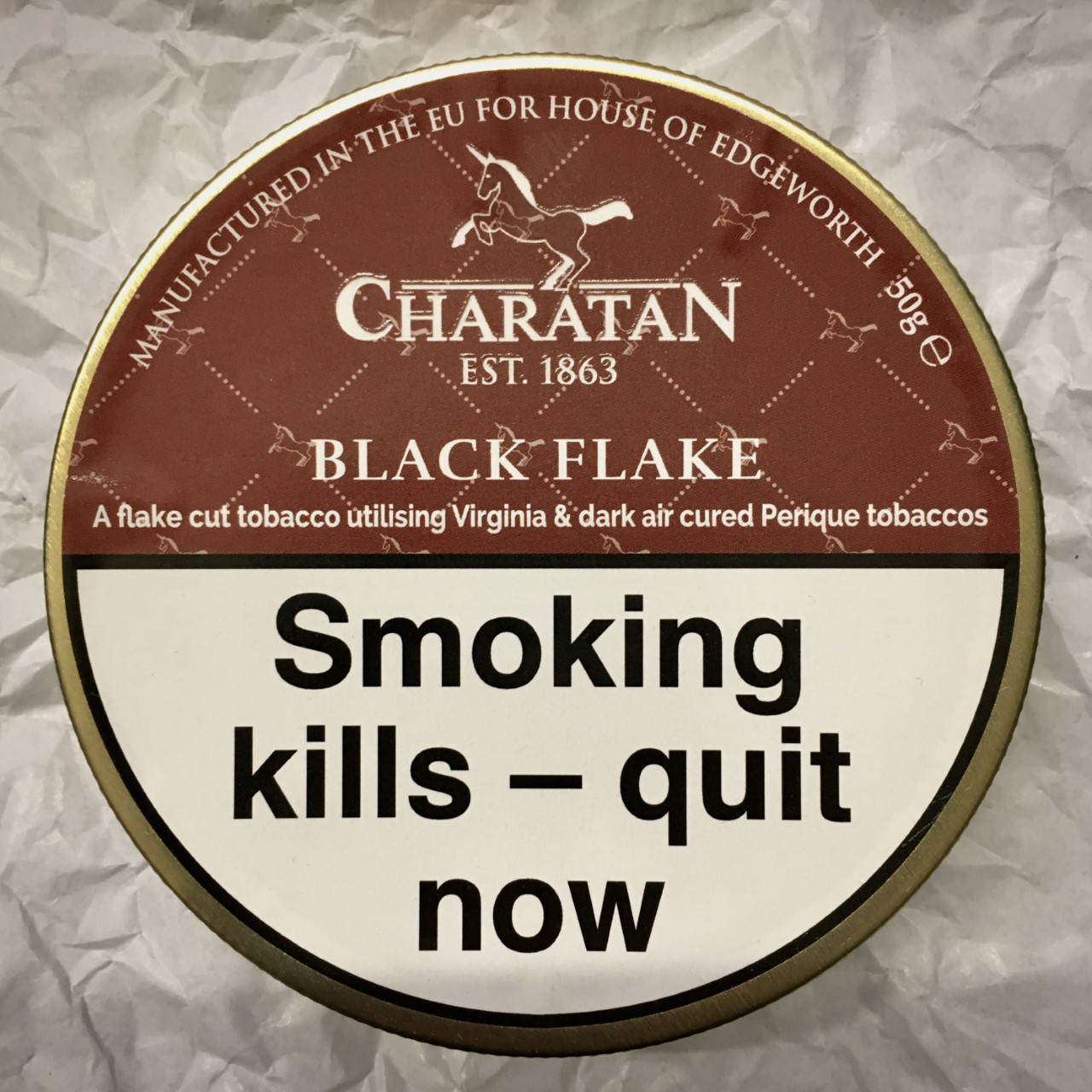 Charatan Black Flake Pipe Tobacco - 50g Tin